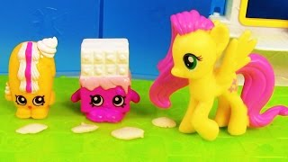 getlinkyoutube.com-MLP Fluttershy Shopkins Playset Creamy Bun Bun My Little Pony Grocery Store Toy Playing