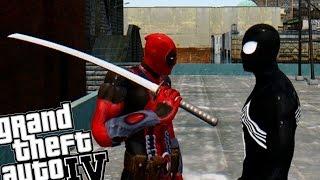 getlinkyoutube.com-Deadpool vs Black Spiderman - GTA IV SUPEHERO MOD EPIC BATTLE