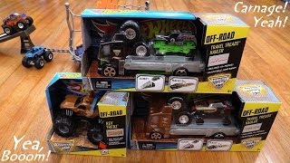 getlinkyoutube.com-Hot Wheels Monster Jam Trucks Travel Threads Hauler Unboxing & Playtime 1 of 2