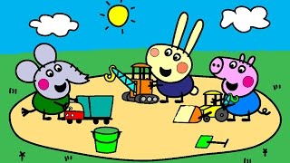 getlinkyoutube.com-Peppa Pig Coloring Pages for Kids - Peppa Pig Construction Site Coloring Book Coloring Games