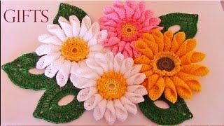 getlinkyoutube.com-Como tejer fácil rápido ramo de margaritas para mamá-Make quick and easy knitting beautiful flowers