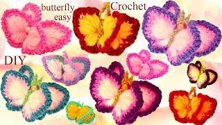 Aprende como tejer a Crochet Mariposas 3D con alas de Colores