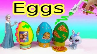 getlinkyoutube.com-Disney Frozen CookieswirlC Pizza Easter Egg Playdoh Frosting DohVinci DIY Play Doh Vinci Fun 2 Craft