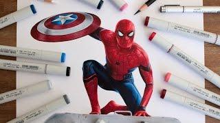 getlinkyoutube.com-Spider-Man Drawing - Captain America Civil War
