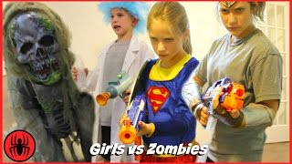 getlinkyoutube.com-Supergirl vs Wonder Woman vs Tiny Rick Monster Zombies NERF WAR: GIRLS RULE real life SuperHero Kids