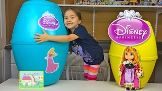 getlinkyoutube.com-HUGE DISNEY PRINCESS PLAYDOH KINDER SURPRISE EGGS Princess Aurora Baby Doll Toys - Plastilina