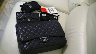 getlinkyoutube.com-Review: Chanel Classic Jumbo Maxi Caviar (Calf Leather) Flap Bag - Wear & Tear ~ popcornday