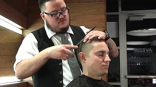 getlinkyoutube.com-Men's Modern Side Part Pomp Fade With Serious ASMR Triggers