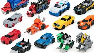 getlinkyoutube.com-Transformers Robots in Disguise Adventure RID Optimus Prime Bumblebee 1 Step  Vehicle Robot Car Toys