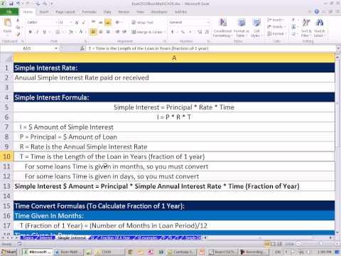 Excel 2010 Business Math 73: Basic Simple Interest Calculations