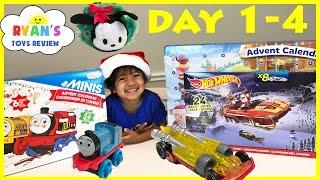 getlinkyoutube.com-SURPRISE TOYS Christmas Thomas Train Disney Tsum Tsum Hot Wheels Toy Cars  Advent Calendar Day 1-4