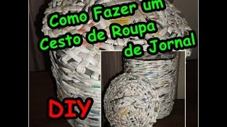getlinkyoutube.com-Como Fazer Cesto de roupa com  jornal Roupeiro