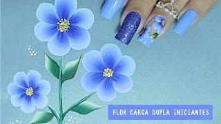 getlinkyoutube.com-Unhas Decoradas com Flor em CARGA DUPLA Fácil #1 iniciantes CURSO ONLINE - Cusoaline.com
