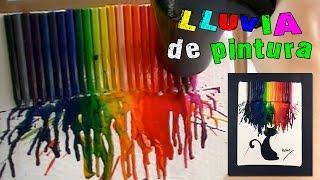 getlinkyoutube.com-Cuadro con ceras o crayolas derretidas: ¡lluvia de pintura!