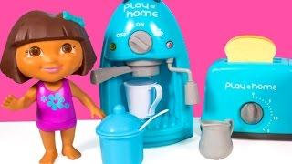 getlinkyoutube.com-Dora The Explorer Coffee Maker & Toaster Play@Home Cooking Set Kitchen Appliance Set Toy Food