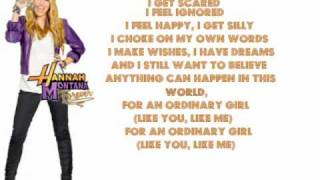 getlinkyoutube.com-Ordinary Girl - Hannah Montana Forever - Lyrics On Screen (Full)