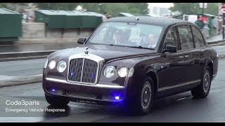 getlinkyoutube.com-Motorcade Queen of England, President of France -- Paris