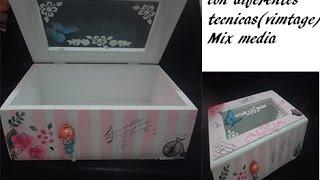 getlinkyoutube.com-Caja con diferentes técnicas(vintage)//Box with different techniques (vintage)