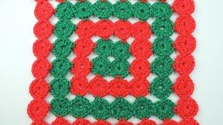 getlinkyoutube.com-Crochet: Cojín de Navidad en Círculos Continuos