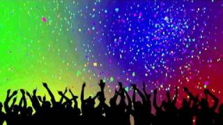 Party Crowd Silhouettes & Confetti Looping Background