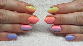 getlinkyoutube.com-Colorfull ombre nails - Kolorowe cieniowane paznokcie - NeoNail