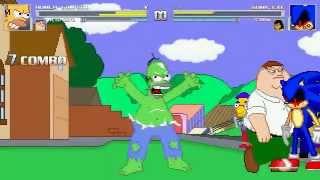 getlinkyoutube.com-AN Mugen Request #147: Homer Simpson & Peter Griffin VS Sonic.exe & Scorpion