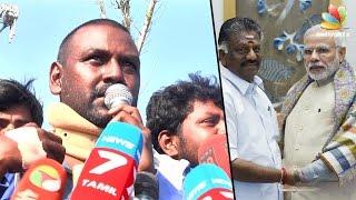 getlinkyoutube.com-Raghava Lawrence's funny comments on Modi and O Panneerselvam | Jallikattu Protest Speech @ Marina