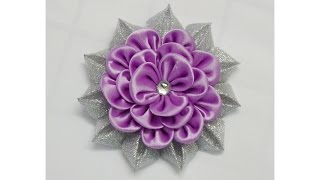 getlinkyoutube.com-How to make kanzashi flower, Diy ribbon flowers, Kanzashi flores de cinta