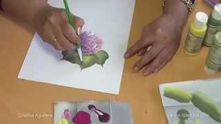 getlinkyoutube.com-Pintar Hortensias . Painting hydrangeas one stroke