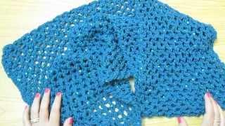 getlinkyoutube.com-كروشيه سكارف أو شال سهل بغرزة الشبكة | قناة كروشيه كافيه Crochet Cafe