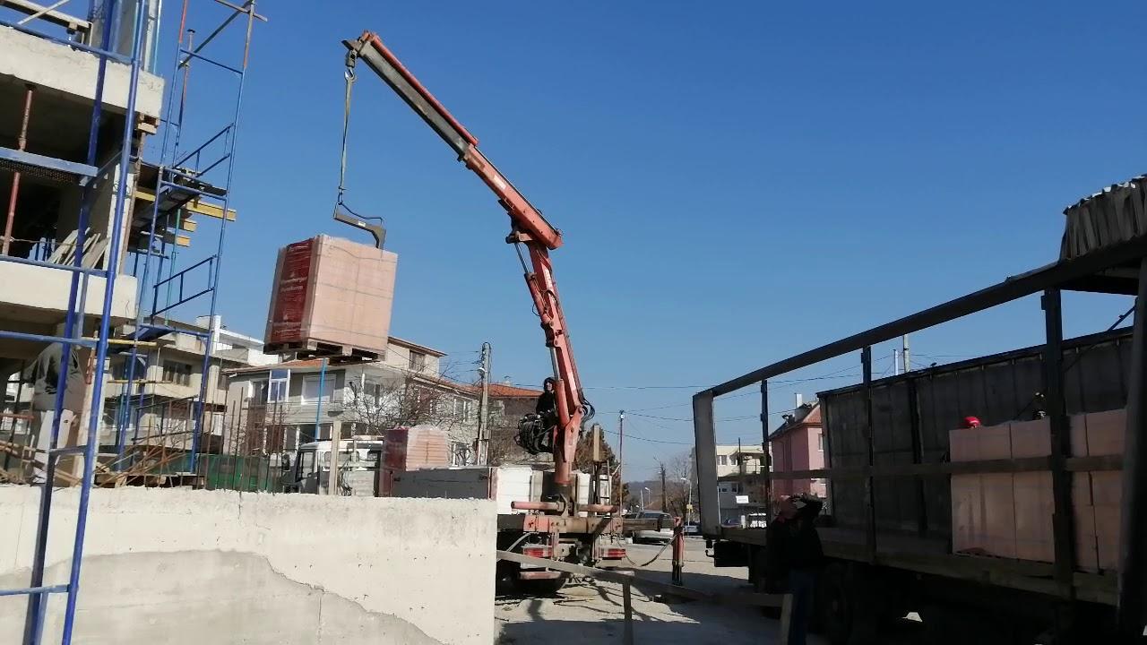 Транспортиране на материали с автокран