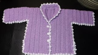 How to crochet a baby sweater Lilac - with Ruby Stedman