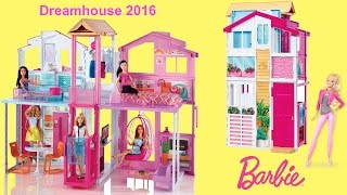 getlinkyoutube.com-Barbie Dreamhouse 2016 - 3-Story Townhouse Unboxing and Full house tour with Barbie Dolls
