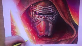 getlinkyoutube.com-KYLO REN from Star Wars - Speed drawing by Alessandro Conti