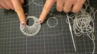 getlinkyoutube.com-DIY tutorial orecchino a cerchio doppio uncinetto argento gioielli fai da te facile e semplice