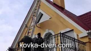 getlinkyoutube.com-Установка кованого флюгера на крыше частного дома с раскладной лестницы на балконе.
