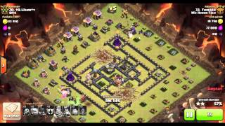 getlinkyoutube.com-8 Quake, 5 Golem GoWiWi on Popular TH9 War Base - Four Corners