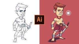 Adobe Illustrator Process   Khmer Warrior Character Illustration.