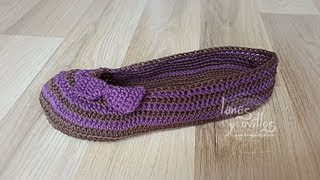 Tutorial Sandalias Crochet o Ganchillo Mary Jane Slippers (1 de 2) (English subtitles)