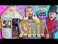 DIY Cardboard Candy Dispenser Vending Machine! CANDY STORE Box Fort! SKITTLES & Gummy Candy