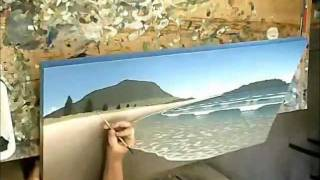 getlinkyoutube.com-Acrylic Painting - Mount Maunganui Beach and Waves