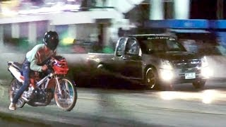 getlinkyoutube.com-MOPED vs pickup TRUCK Drag Racing (isuzu dmax versus 2 stroke motorcycle. Car vs Bike race)