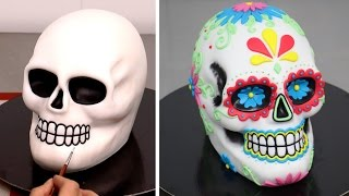 getlinkyoutube.com-Sugar Skull Cake / Day of The Dead Cake - How To by CakesStepbyStep