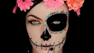getlinkyoutube.com-Sugar Skull  Inspired Makeup Tutorial