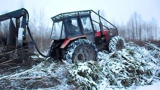 getlinkyoutube.com-Belarus Mtz 1025 forestry tractor logging in winter forest
