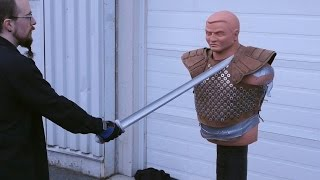 getlinkyoutube.com-Karambit / Swords / Axes vs. Padded Jacket /  Fantasy Armor (Studded Leather)