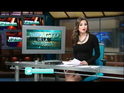 Pamela Silva Conde 2012/01/17 Primer Impacto HD; Tight black dress