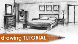 Drawing tutorial - room in two point perspective (bedroom)