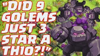 "getlinkyoutube.com-Clash of Clans: ""9 MAX Golems EPIC 3 Star ATTACK!"""