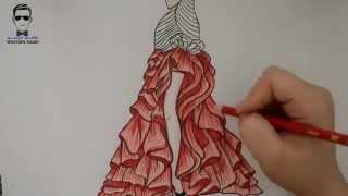 getlinkyoutube.com-تعلم رسم فتاة مع فستان سهرة مميز
